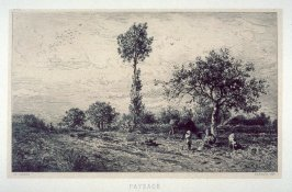 Landscape-woman, child and animals