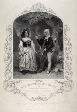 Mrs. H. Marston and Mr. F. Younge as Audry and Touchstone in As You Like It.