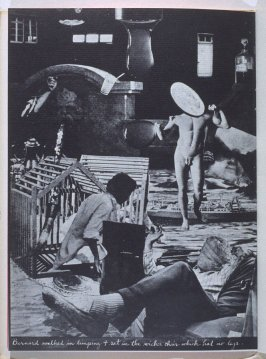Bernard walked in limping & sat in the wicker chair which had no legs, fourth image in the book The Better Dream House (White Rabbit Press, 1968)