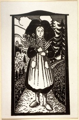 French Peasant Woman stands on a path holding flowers.