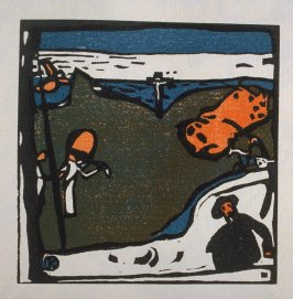 """Landschaft mit Figuren und Kruzifix"" in the book Klänge (Munich: R. Piper, 1913)"