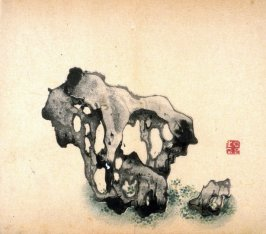 Skeletal stone, top-heavy to left, smaller one at right, dot grass, No.9 from the Volume on Stones - from: The Treatise on Calligraphy and Painting of the Ten Bamboo Studio