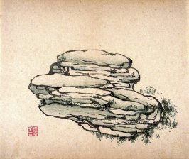 Horizontally striated stone, stippled grass, No.2 from the Volume on Stones - from: The Treatise on Calligraphy and Painting of the Ten Bamboo Studio