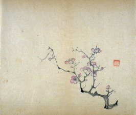Pink Plum Branch growing from right, No.5 from Volume I(1+2) on Miscellaneous Subjects - from: The Treatise on Calligraphy and Painting of the Ten Bamboo Studio
