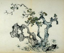 Green Plum Tree, leaning over skeletal stone, No.12 from the Volume on Plums - from: The Treatise on Calligraphy and Painting of the Ten Bamboo Studio