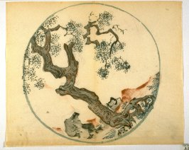 Twisted Tree and Rocks on Bank, No.19 from the Volume on Round Fans - from: The Treatise on Calligraphy and Painting of the Ten Bamboo Studio