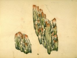 Two vertically striated stones, smaller at left, No.6 from the Volume on Stones - from: The Treatise on Calligraphy and Painting of the Ten Bamboo Studio