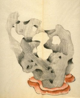 Rounded stone on stand, No.7 from the Volume on Stones - from: The Treatise on Calligraphy and Painting of the Ten Bamboo Studio