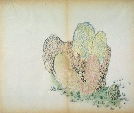 Lichened stones, grass, No.19 from the Volume on Stones - from: The Treatise on Calligraphy and Painting of the Ten Bamboo Studio