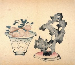 Vase of Litchi Nuts; Stone on Stand, No.15 from the Volume on Fruit - from: The Treatise on Calligraphy and Painting of the Ten Bamboo Studio