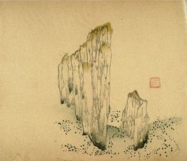 Two vertical stones, smaller at right, No.13 from Volume I(1+2) on Miscellaneous Subjects - from: The Treatise on Calligraphy and Painting of the Ten Bamboo Studio