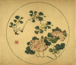 Mallow and Sweet Olive Blossoms, No.11 from the Volume on Round Fans - from: The Treatise on Calligraphy and Painting of the Ten Bamboo Studio