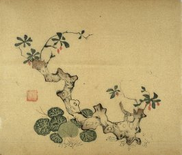 Old stump and broad-leaved plant, No.14 from Volume I(1+2) on Miscellaneous Subjects - from: The Treatise on Calligraphy and Painting of the Ten Bamboo Studio