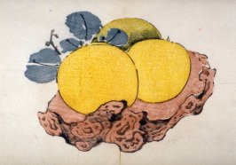 Three oranges on a knotted stand, No.18 from the Volume on Fruit - from: The Treatise on Calligraphy and Painting of the Ten Bamboo Studio