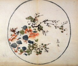 Camellia and Plum, No.3 from the Volume on Round Fans - from: The Treatise on Calligraphy and Painting of the Ten Bamboo Studio