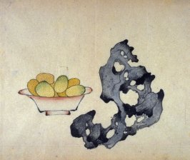 Dish of Kumquats and Rock, No.2 from the Volume on Fruit - from: The Treatise on Calligraphy and Painting of the Ten Bamboo Studio