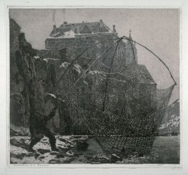 [Fisherman on the shore with a huge net]