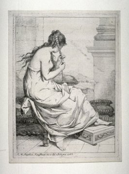 Young girl seated, plaiting her hair