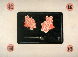 Carnations and Spoon on a Tray