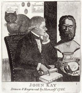 John Kay, Drawn and Engraved by Himself, pl. 1 in the book, A Series of Original Portraits and Caricature Etchings (Edinburgh: Adam and Charles Black, 1877), vol. 1