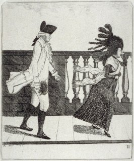 Dr. James Graham Going along the North Bridge in a High Wind, pl. 11 in the book, A Series of Original Portraits and Caricature Etchings (Edinburgh: Adam and Charles Black, 1877), vol. 1