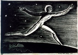 Figure of nude man with halo, running among stars