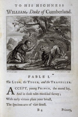 The Lion, the Tiger, and the Traveler, plate for Fable I on page 1 in the book, Fables (London: J. Tonson and J. Watts, 1729)