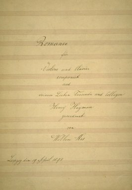 Romance for Violin and Piano composed by Willem Kes and Henry Heyman