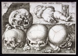 Four Skulls, and a dead Infant with an Hourglass