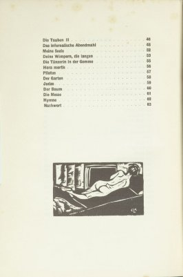 Untitled, at end of table of contents, in the book Umbra Vitae: Nachgelassene Gedichte by Georg Heym (Munich: Kurt Wolff, 1924).