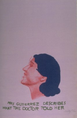"""""""Mrs. Guitierrez describes what the doctor told her,"""" in the book A Day Book by Robert Creeley (Berlin: Graphis, 1972)"""