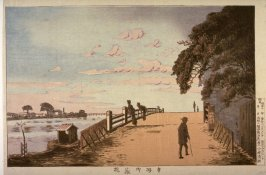 The Okura( or Mikura) Bridge in Honjo (Honjo okurabashi) from an untitled series of views of Tokyo