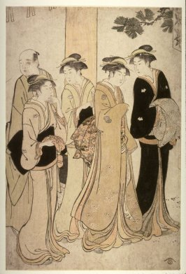 Four women and a man at the entrance to a shrine