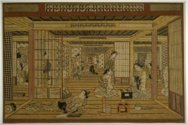 A Tea House in the Yoshiwara, with a Game of Backgammon