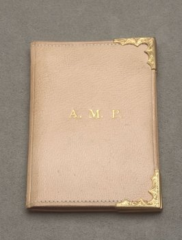 "Card case inscribed, ""A.M.P.""(Abby Meagher Parrott)"