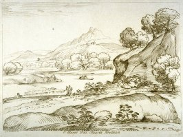 River landscape with high mountain in the background, from the series 'Prints in Imitation of Drawings'