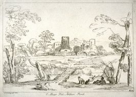 River with plank bridge and bathers, from the series 'Prints in Imitation of Drawings'