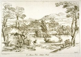 River landscape with boat, from the series 'Prints in Imitation of Drawings'