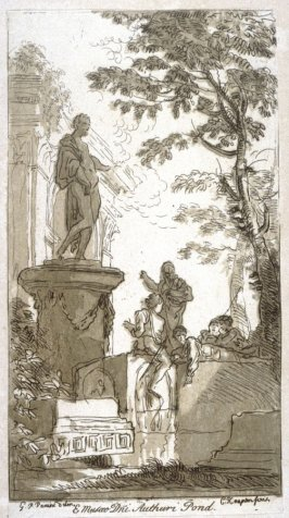 Ruins with statue and five figures on a tomb, from the series 'Prints in Imitation of Drawings'