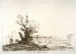 Landscape with river and forts, from the series 'Prints in Imitation of Drawings'