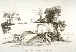 Landscape with ruined bridge, from the series 'Prints in Imitation of Drawings'