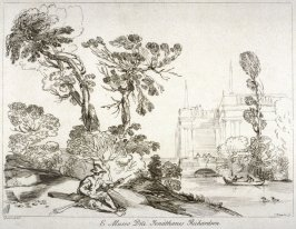 River with figure resting on near bank, from the series 'Prints in Imitation of Drawings'