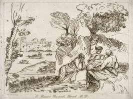 Lake shore with three figures under tree, from the series 'Prints in Imitation of Drawings'