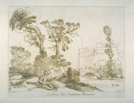 [landscape with man sitting by a river, bridge and building in the background at right], from the series 'Prints in Imitation of Drawings'