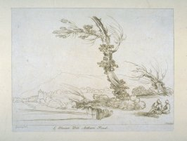 [landscape with two men in right foreground, one holding a bird on his hand], from the series 'Prints in Imitation of Drawings'