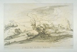 [landscape with boat on a river, castle in the background at right], from the series 'Prints in Imitation of Drawings'