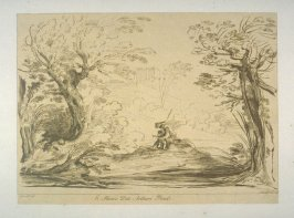 [landscape with man and child; woman hiding at left], from the series 'Prints in Imitation of Drawings'