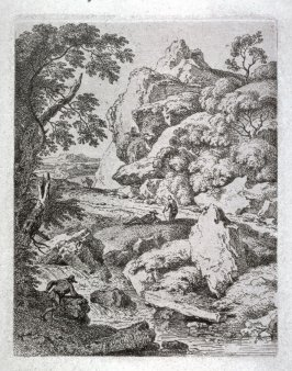 Rocky landscape with small stream and four figures