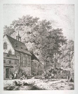 [Village scene with church on the left]