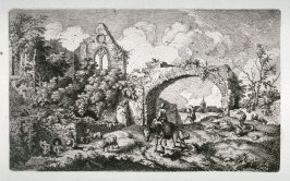 [Figures in a landscape amid sheep and ruins]